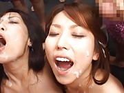 Maria Ozawa Asian and two gals receive sperm in their mouths