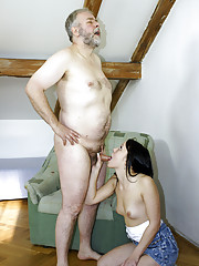 Horny old senior invading a cooch with cock