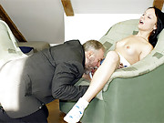 Gorgeous horny chick fucked hard by older guy
