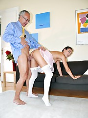 Horny old dude drilling her drenched cooch