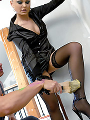 Sweetie boning the horny painter in her house