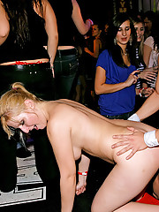 Sexy chicks playing with peckers at a party