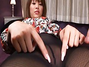 Kaera Uehara Asian is touched over stockings in front of mirror