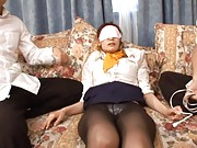 Nao Mizushiro Asian with mask on eyes gets vibrator over stocking