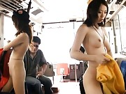 Rino Asuka Asian and another guide teasing themselves in the bus