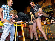 Nailing a pretty chick at the bar with spunk
