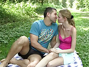 Picknicking teen couple love screwing outside