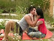 Fucking a cute and willing brunette outdoors