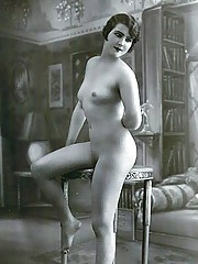 Vintage chicks posing on tables and chairs