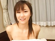 Yui Seto Asian with firm jugs gets cock to lick after drilling