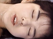 Eri Ueno Asian with brown nipples gets lots of cum after drilling
