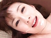 Erika Kirihara Asian with big hooters ends with sperm on mouth
