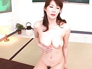 Erika Kirihara Asian sucks joystick and rubs it between knockers