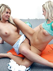 Sporty horny teenagers caressing each other