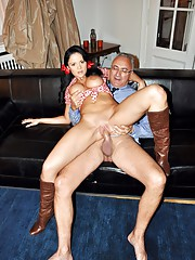 Gorgerous brunette riding his senior schlong