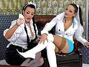 Two cute smoking hot hotel maids pleasuring