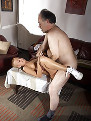 Horny old fellow penetrates a younger chick