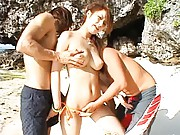 Reina Matsushima has big nude cans and pussy caressed on beach