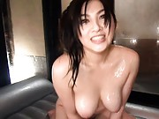 Saori Hara Asian with generous curves lays all naked and wet