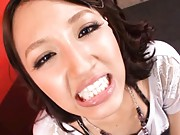 Rola Aoyama Asian in white blouse shows face splashed by sperm