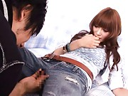 Kirara Asuka Asian gets finger in vagina through hole in jeans