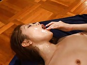 Asami Ogawa Asian with face under sperm is deeply screwed in slit