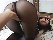 Yuka Osawa Asian is touched on hot ass over stockings and thong