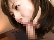 Yuma Asami Asian smiles at the thought of cum coming on her face