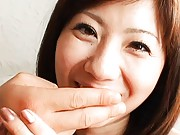 Yuma Asami Asian gets two fingers to suck them like it is a dick