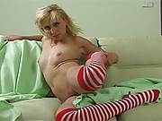 Girl with cute socks pets her slippery vagina