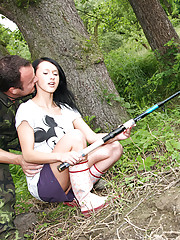 Girl nailed by a horny fisherman in the woods