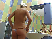 A blonde loves taking a masturbating shower