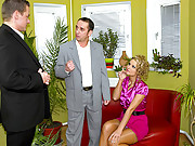 Fellows banging a horny and clothed secretary