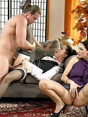 Clothed sweethearts fucking a horny nude chap