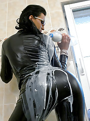 Fetish babe pouring milk around their bodies