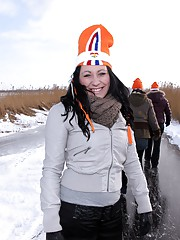 Four dutch hotties enjoy outdoor ice skating