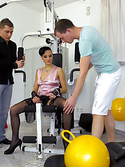Horny chaps drilling a chick at a sport club