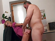 A horny senior fucking a much younger chick