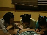 Japanese AV Model and two gals wakes fellow up to suck his dick