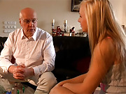 Gorgeous horny blonde penetrated by old cock