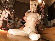 An Mashiro Asian with paper bag on head is touched on huge tits