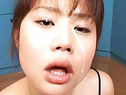 Japanese AV Model in satin dress has cum on face from two dongs
