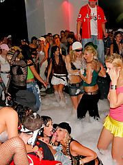 Girls fucked at big bubble party by strippers