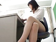 Nanako Mori Asian reveals some vagina in thong in front of boss