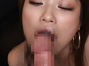 Akari Hoshino Asian sucks dildo and gets cum in mouth from cock
