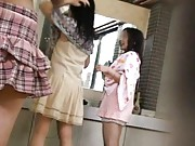 Japanese AV Model and two dames take clothes off at public bath