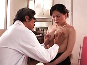 Miki Sato Asian has her huge cans with big nipples checked by doc