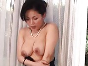 Miki Sato Asian fondles her nude and big jugs and is seen by dude