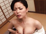 Miki Sato Asian geisha has big boobs licked and she gives blowjob