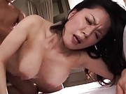 Miki Sato Asian with huge tits rides stiffy so with much eager